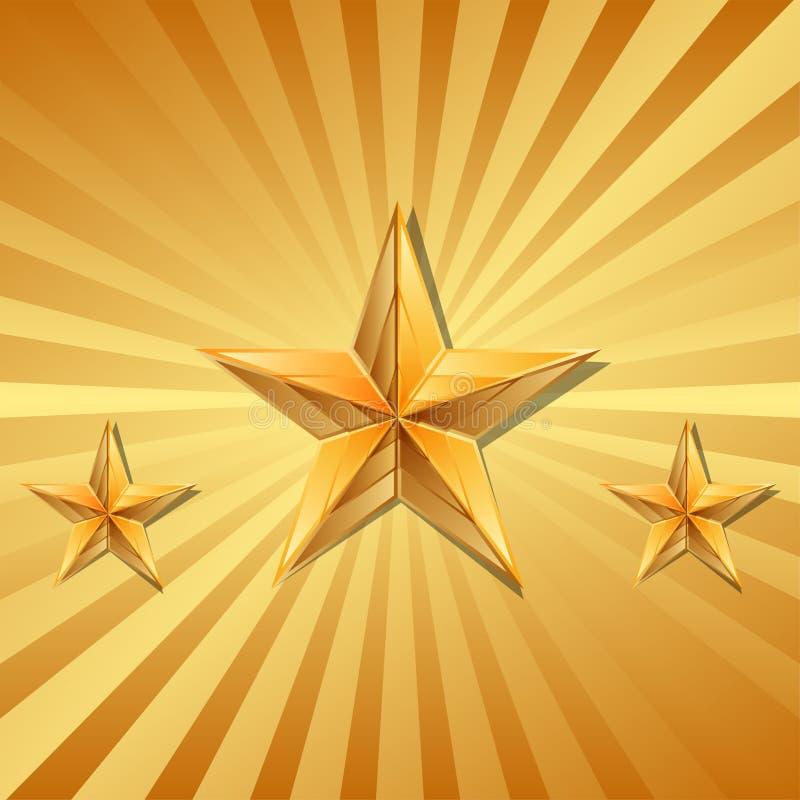 Un'illustrazione di vettore di 3 stelle d'oro immagini stock libere da diritti