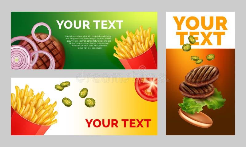 Un'illustrazione di vettore di tre strati di pubblicità con un'immagine delle patate fritte e degli hamburger con spazio per il v illustrazione di stock