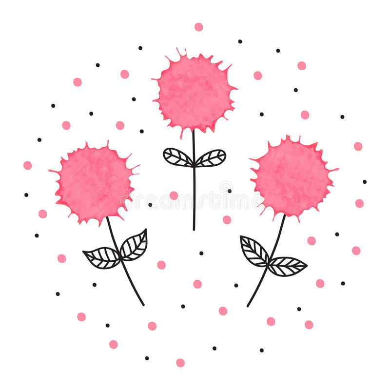 Un'illustrazione disegnata a mano adorabile di tre fiori con l'acquerello illustrazione vettoriale