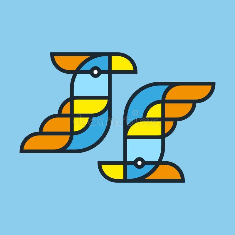 Un'illustrazione lineare luminosa, un pappagallo stilizzato, può essere usata As royalty illustrazione gratis