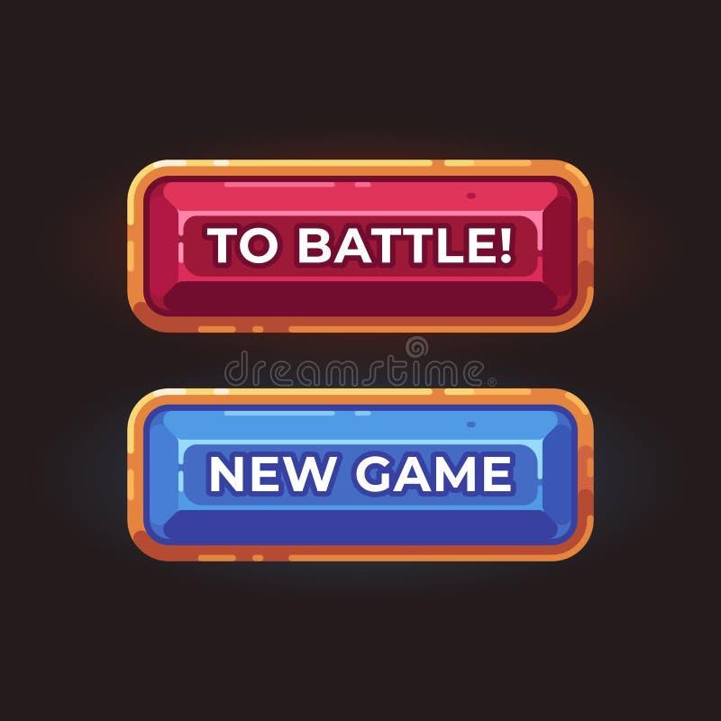 Un'illustrazione piana di due bottoni del gioco Elementi dell'interfaccia del gioco illustrazione vettoriale