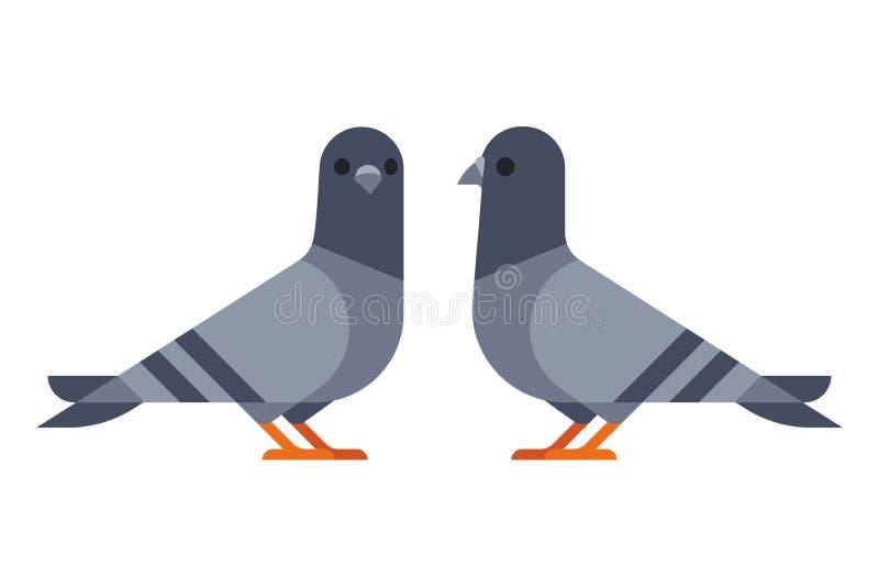 Un'illustrazione semplice di due piccioni illustrazione vettoriale