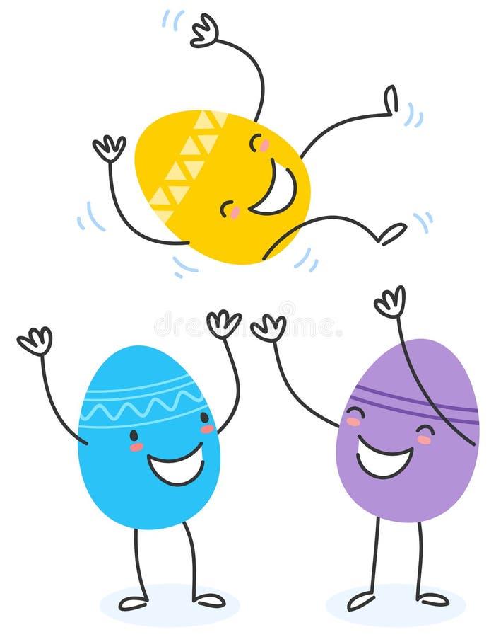 Un'illustrazione semplice di vettore di due personaggi dei cartoni animati piani variopinti dell'uovo di Pasqua di progettazione  illustrazione vettoriale