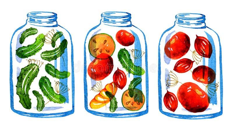 Un'illustrazione stilizzata disegnata a mano di tre barattoli delle prerogative di verdure royalty illustrazione gratis