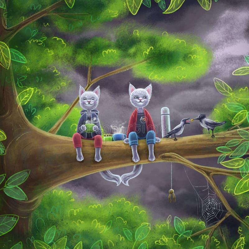 Un'illustrazione sveglia di Digital di due gatti che si siedono su un ramo di albero con i corvi e che bevono un tè fotografia stock