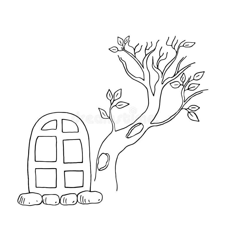 Un'illustrazione vettoriale disegnata a mano della finestra di una strega di Halloween e di un albero asciutto royalty illustrazione gratis