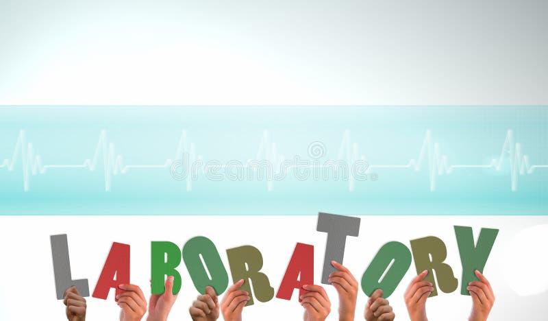 Un'immagine composita delle mani che sostengono laboratorio illustrazione di stock