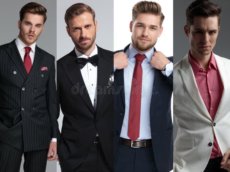 Un'immagine del collage di quattro uomini di modo che indossano i vestiti immagini stock libere da diritti