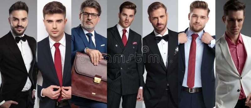 Un'immagine del collage di sette uomini eleganti che indossano i vestiti immagine stock