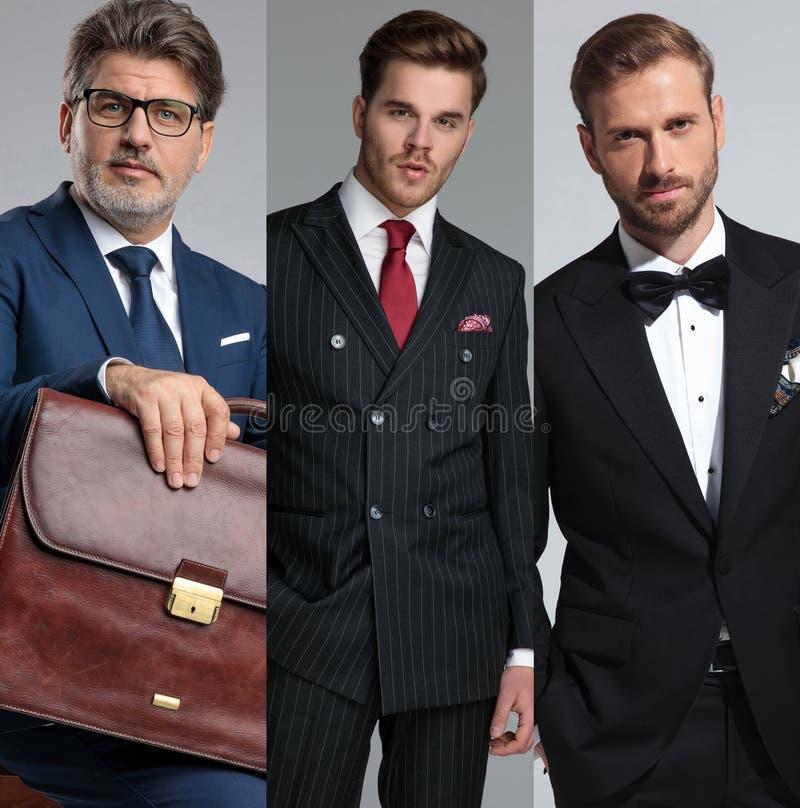 Un'immagine del collage di una posa elegante di tre uomini fotografia stock libera da diritti
