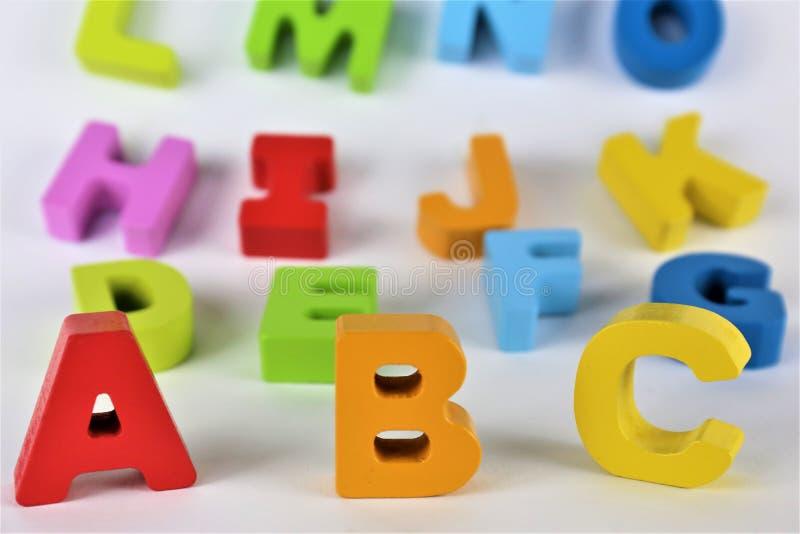 Un'immagine delle lettere di ABC, pre scuola, giocattolo, alfabeto di concetto immagine stock