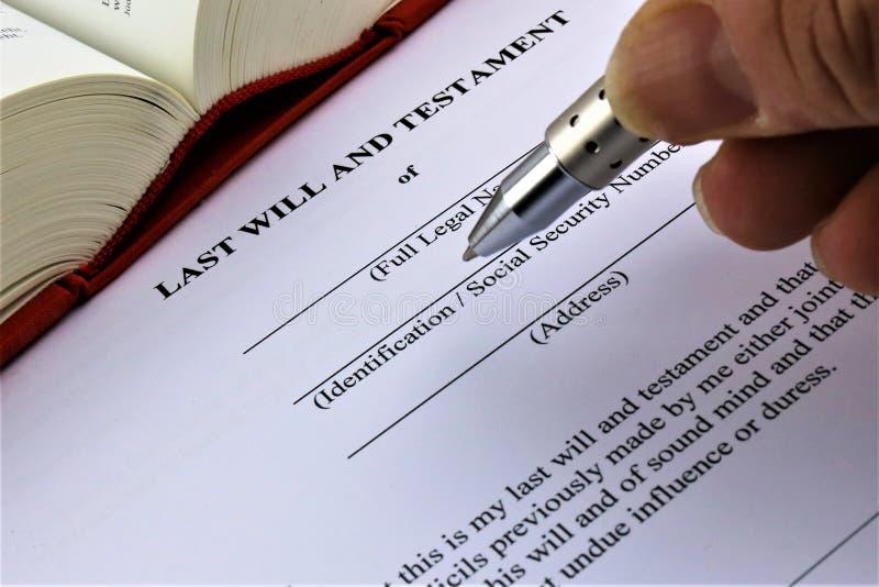 Un'immagine di concetto di un ultimo e testamento immagine stock libera da diritti