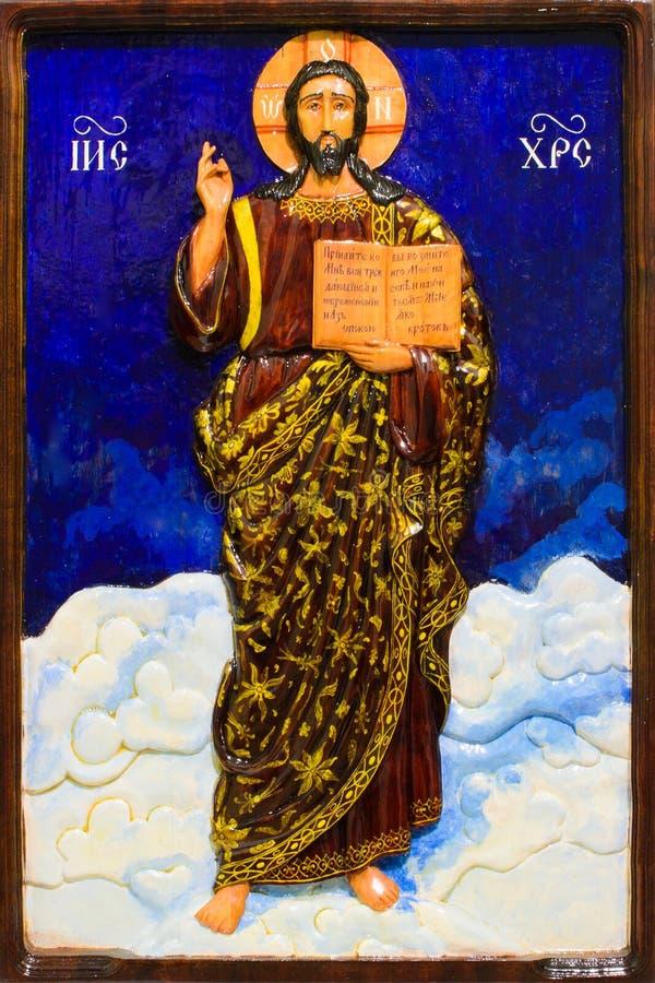 Un'immagine di Jesus Christ ha scolpito da legno fotografia stock