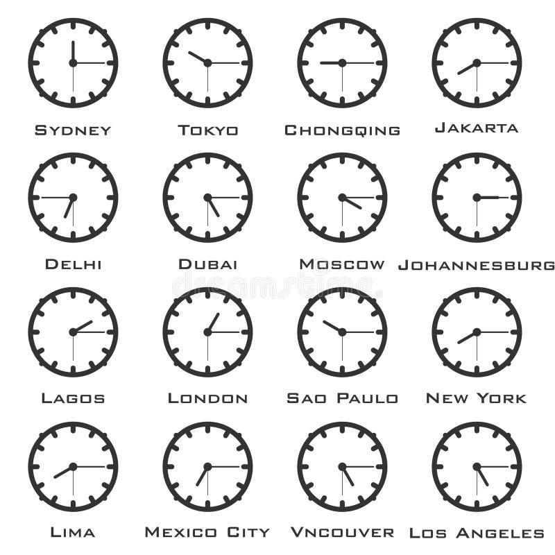 Un'immagine minimalistic dell'orologio con la differenza di tempo dei capitali del mondo Vettore illustrazione vettoriale