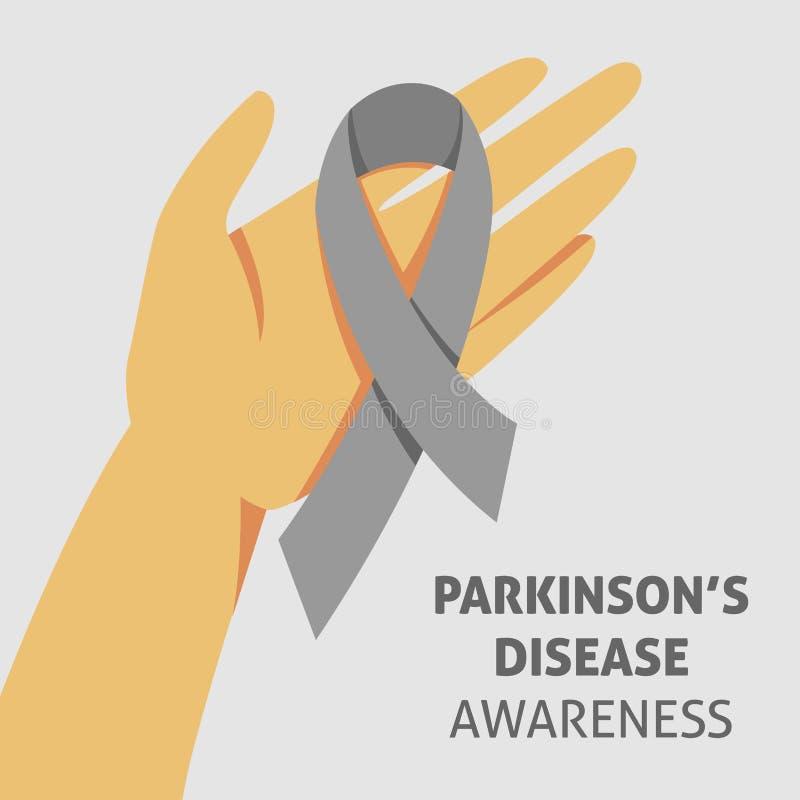 Un'immagine quadrata di vettore con un nastro grigio come simbolo di consapevolezza della malattia di parkinson Un giorno della m royalty illustrazione gratis