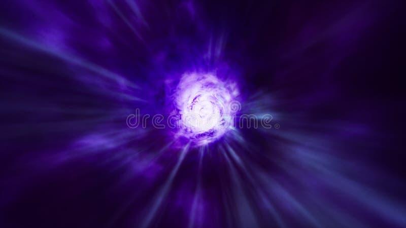 Un inconsútil del viaje interestelar a través de un wormhole azul llenado de las estrellas brillantes representaci?n 3d stock de ilustración