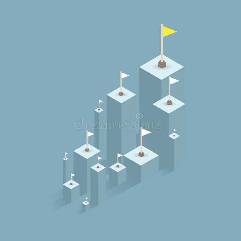 Un indicador del éxito negocio del gráfico de barra al éxito del horario financiero Líder, ganador y concepto de éxito Illu del v ilustración del vector