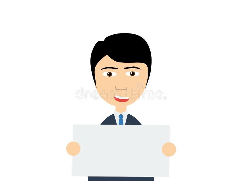 Un individuo asiático joven sonriente que lleva a cabo a un tablero blanco vacío ilustración del vector