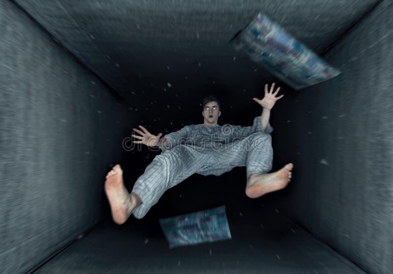 Un individuo de sueño con la sensación de caer imagenes de archivo