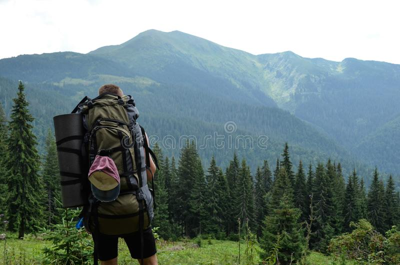 Un individuo joven en las montañas hace una foto de sí mismo fotos de archivo libres de regalías