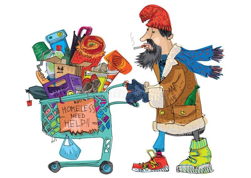 Un individuo sin hogar pobre con ilustración del vector