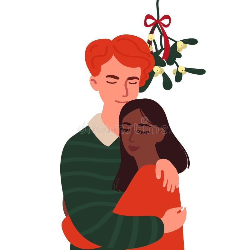 Un individuo y un abrazo de la muchacha bajo rama del muérdago Personajes de dibujos animados aislados en el fondo blanco Ejemplo stock de ilustración