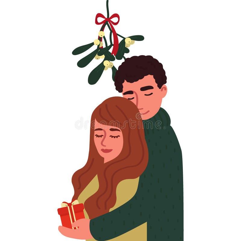 Un individuo y un abrazo de la muchacha bajo rama del muérdago Personajes de dibujos animados aislados en el fondo blanco Ilustra stock de ilustración
