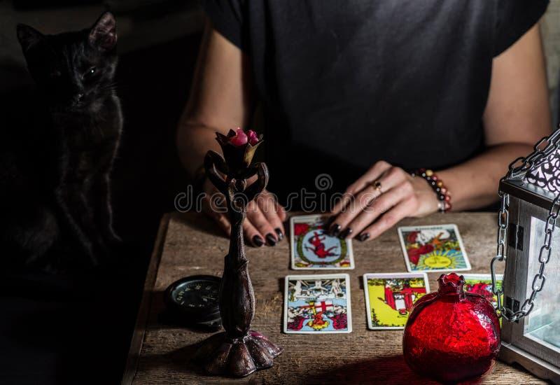 Un indovino con un gatto nero ha letto le carte di tarocchi fotografia stock