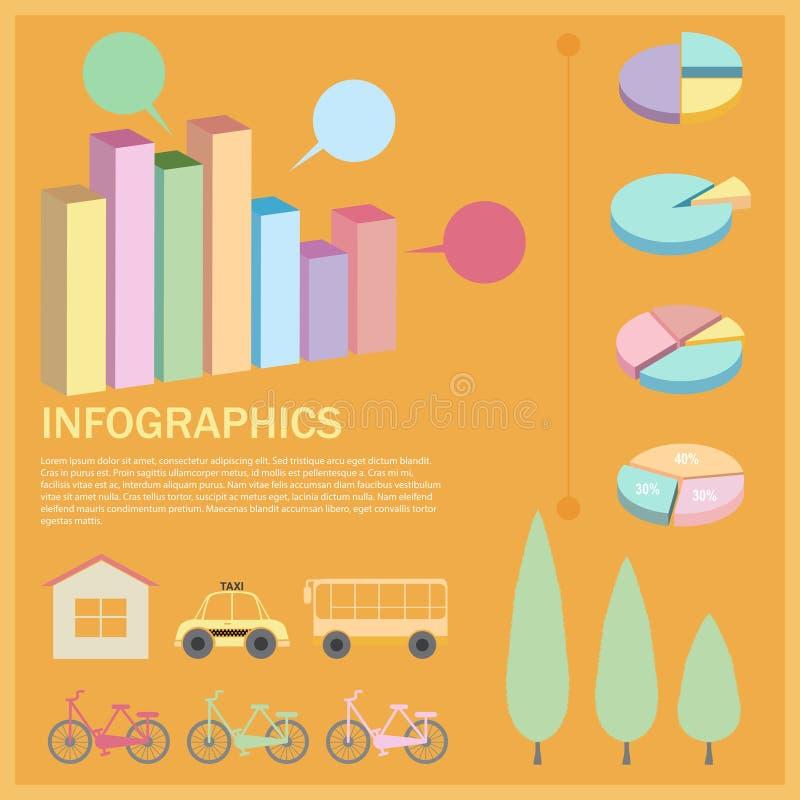 Un infographics con una empanada y los gráficos de barra stock de ilustración