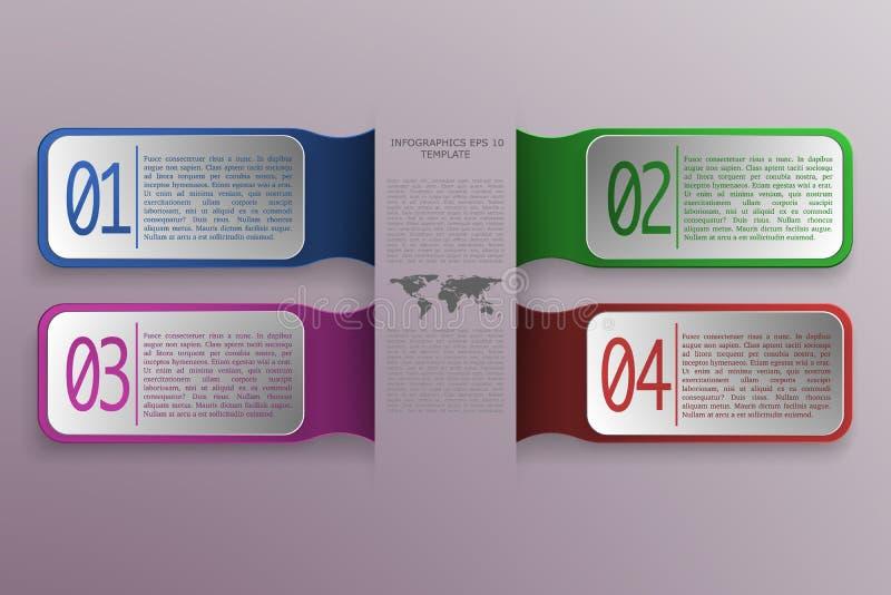 un infographics di 4 opzioni con il rettangolo 3D obietta nello stile moderno royalty illustrazione gratis