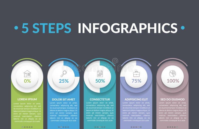un infographics di 5 punti illustrazione di stock