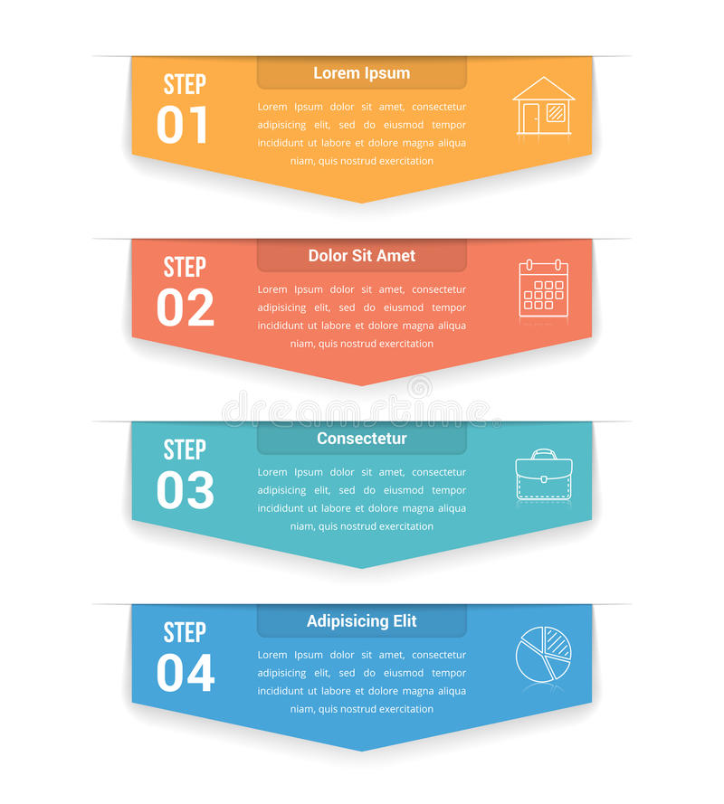 Un infographics di quattro punti illustrazione di stock