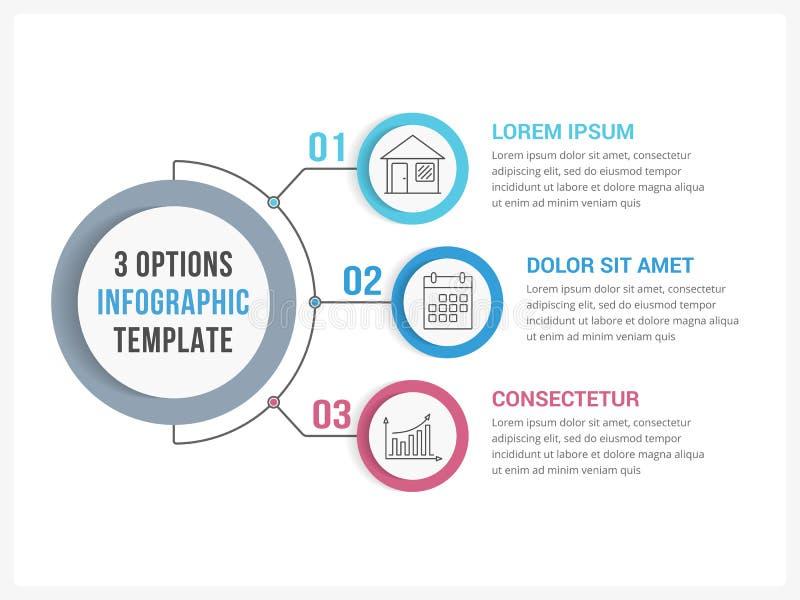Un infographics di tre punti illustrazione di stock