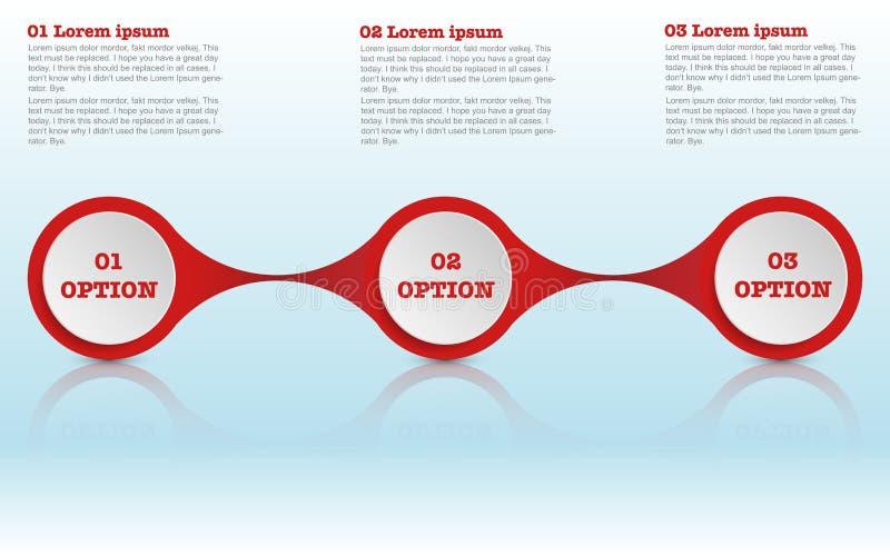 Un infographics roudned moderno di tre punti, circonda infographic royalty illustrazione gratis
