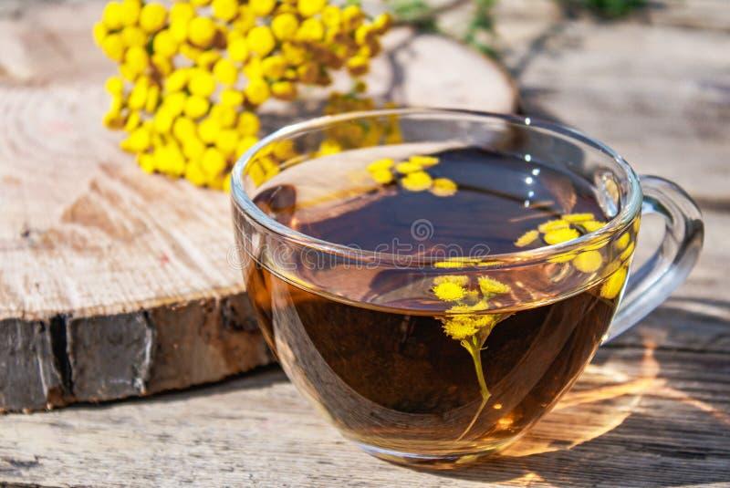 Un'infusione di ansy in una coppa di vetro e fiori di marijuana gialli su un tavolo di legno Tè di Tansy Herbal Erbe guaritrici fotografie stock