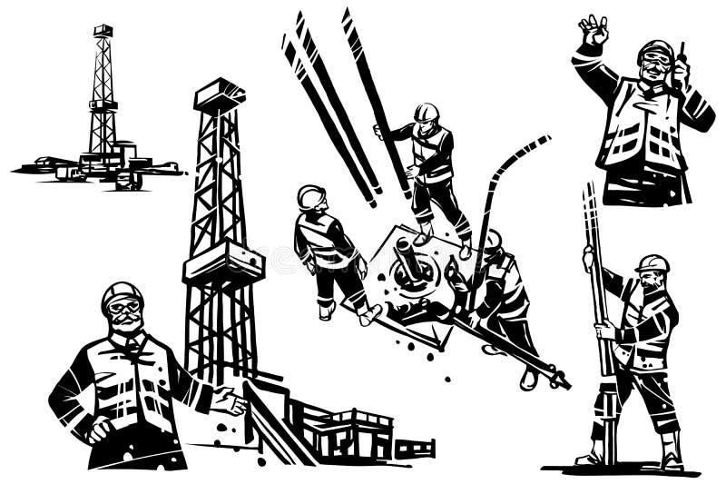 Un ingeniero del aceite con una radio en el fondo de una plataforma petrolera de la perforación Los trabajadores perforan un pozo stock de ilustración