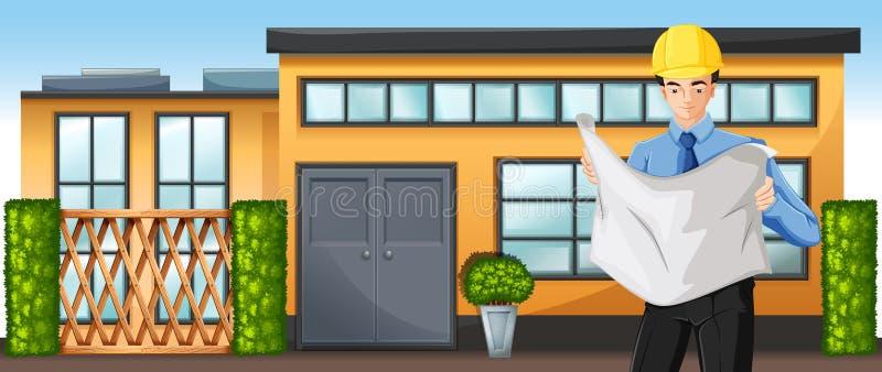 Un ingeniero delante de un edificio libre illustration