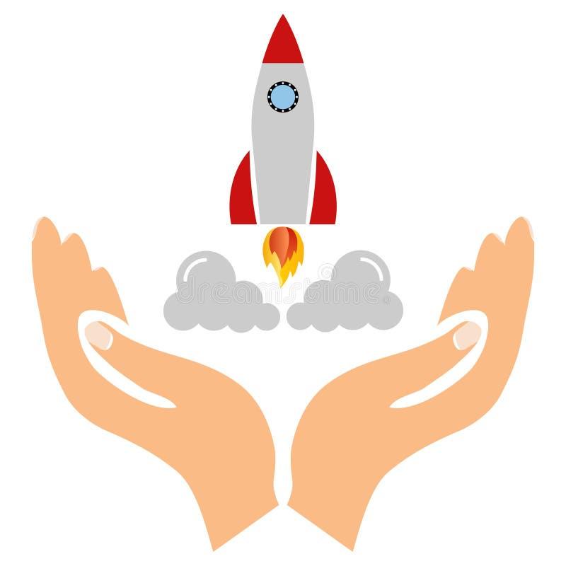 Un inicio, un icono de lanzamiento, un cohete saca de las manos de un hombre stock de ilustración