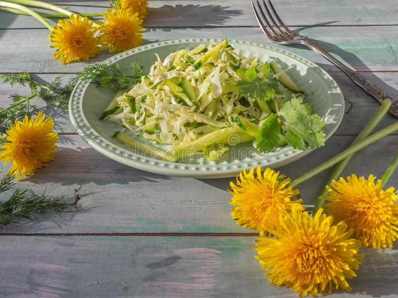 Un'insalata semplice del vegano del katusta fresco e cetrioli con le erbe piccanti su un piatto rotondo della lattuga, sulla tavo fotografia stock