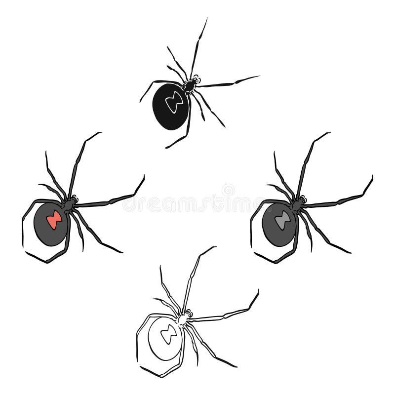 Un insecte d'arthropode est un insecte Une araignée, une icône simple d'insecte prédateur dans la bande dessinée, actions noires  illustration stock