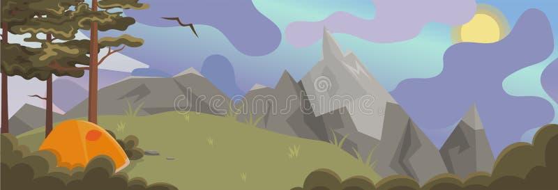 Un'insegna con un paesaggio naturale con i pini e le montagne Grafici di vettore illustrazione di stock