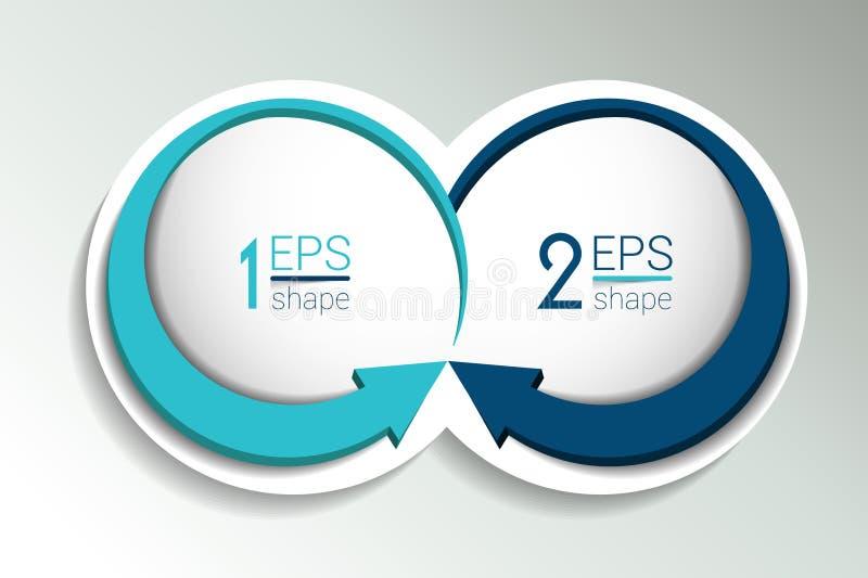 Un'insegna di due elementi di affari, modello 2 punti progettano, tracciano una carta di, opzione infographic e graduale di numer illustrazione di stock