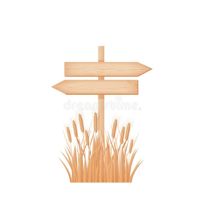 Un'insegna opposta di legno di due frecce su un palo al giacimento di grano illustrazione vettoriale
