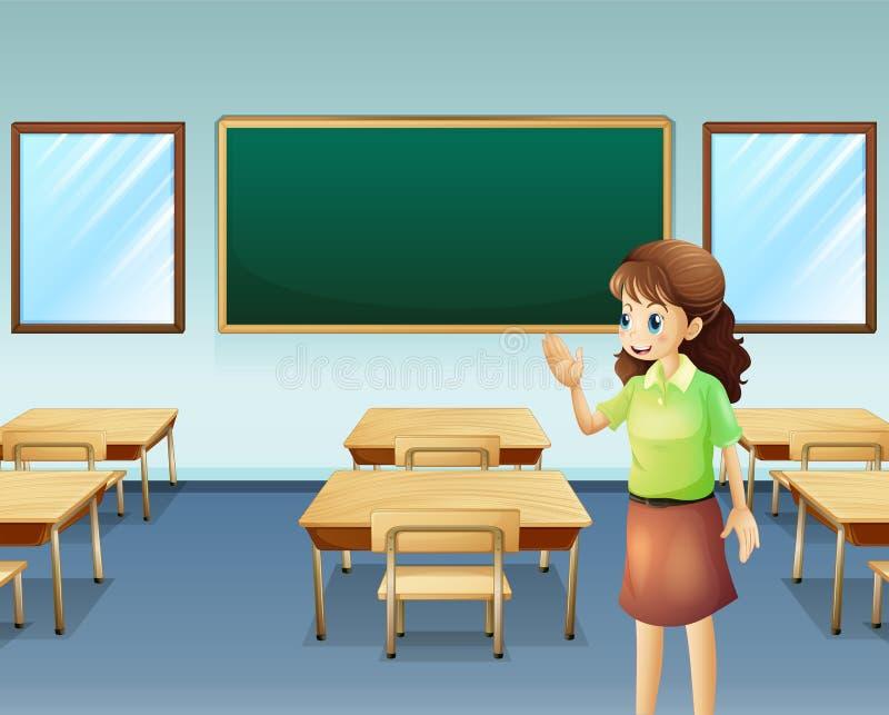 Un insegnante dentro l'aula vuota illustrazione vettoriale