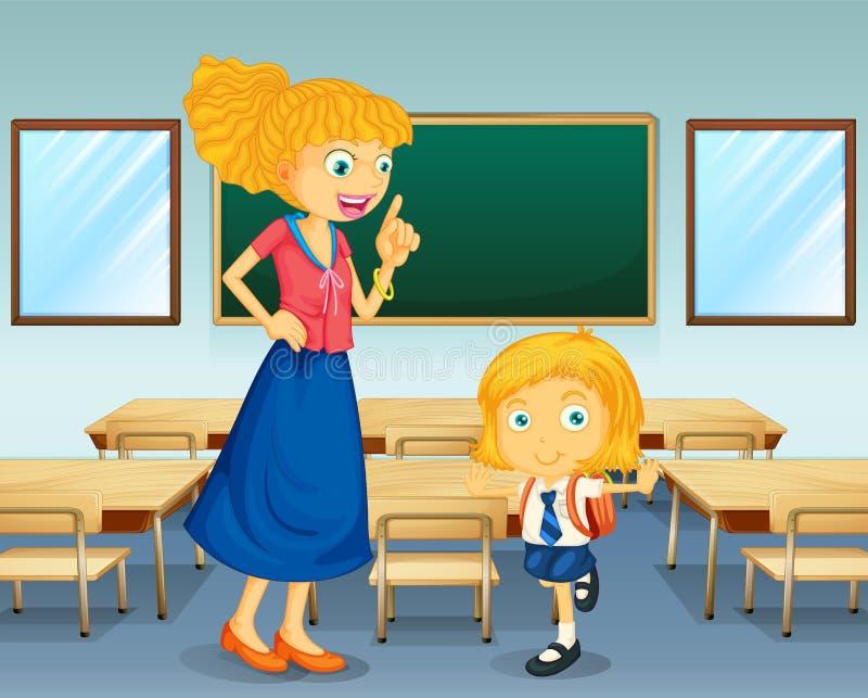 Un insegnante e uno studente illustrazione vettoriale