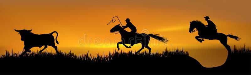 Un inseguimento di 2 cowboy royalty illustrazione gratis