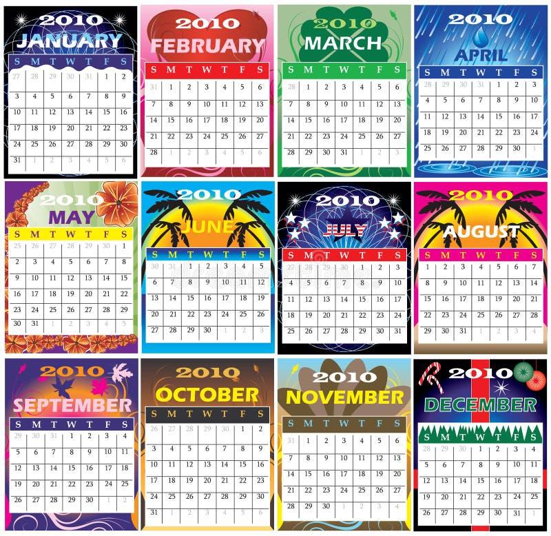 Un insieme 2010 di 12 calendari di tema illustrazione vettoriale