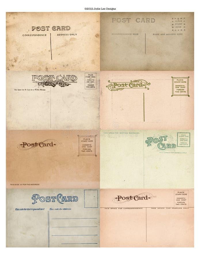 Un insieme antico della cartolina dell'annata di 8 fotografie stock libere da diritti