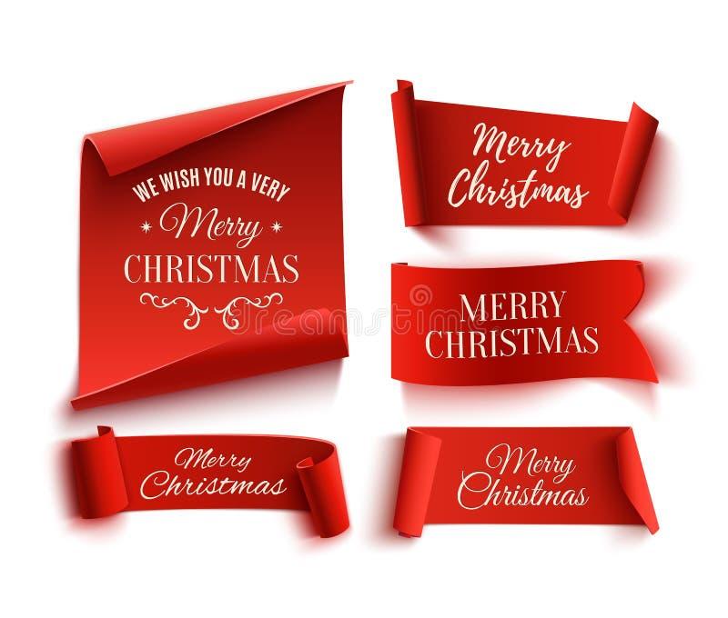 Un insieme cinque di rosso, Buon Natale, insegne realistiche e di carta royalty illustrazione gratis