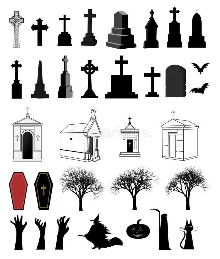 un insieme decorativo di 33 oggetti per Halloween royalty illustrazione gratis